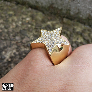 MEN'S ICED OUT HIP HOP LUXURY LAB DIAMOND GOLD PLATED STAR PINKY 8 ~ 12 RING