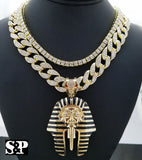 "Hip Hop Pharaoh Pendant w/ 16"" Full Iced Cuban & 1 ROW DIAMOND Choker Chain Set"