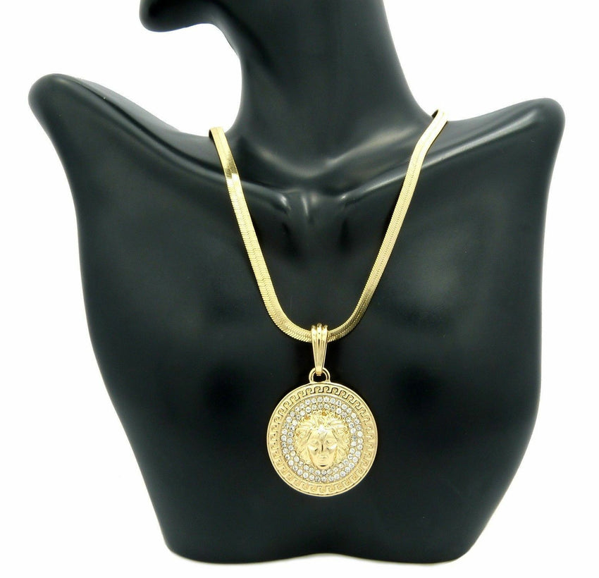 "HIP HOP ICED OUT MEDUSA ROUND PENDANT & 4mm 20"" HERRINGBONE CHAIN NECKLACE"