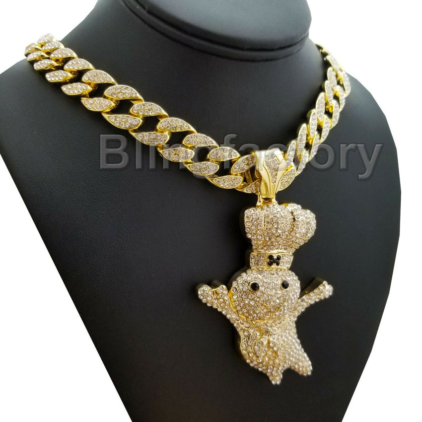 "Hip Hop Iced out Large DOUGHBOY Pendant & 18"" 1 ROW Tennis Choker Chain Necklace"