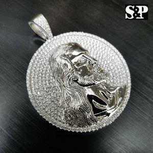 HIP HOP ICED OUT WHITE GOLD PLATED BRASS MICRO PAVE JESUS FACE MEDALLION PENDANT