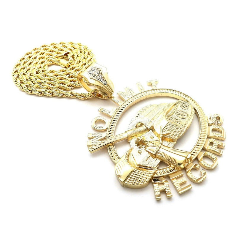 "HIP HOP ICED OUT GOLD PT NOLIMIT RECORDS PENDANT & 4mm 24"" ROPE CHAIN NECKLACE"