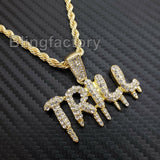"Hip Hop Iced Lab Diamond TRILL Drip Pendant & 4mm 24"" Rope Chain Necklace"
