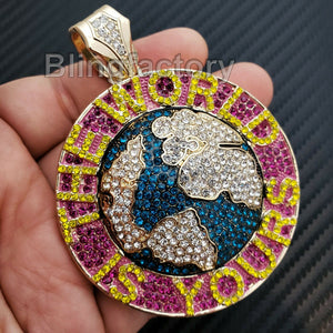 HIP HOP ICED OUT THE WORLD IS YOURS LARGE BLING RAPPER'S PENDANT