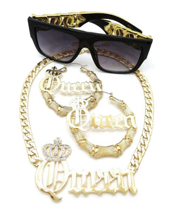 WOMEN QUEEN PENDANT NECKLACE & PINCATCH HOOP EARRINGS & SUNGLASSES SET