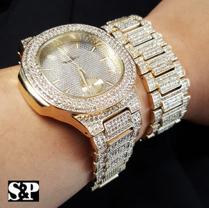 NEW MEN ICED HIP HOP GOLD PT LAB DIAMONDS JAY-Z WATCH & BRACELET COMBO SET