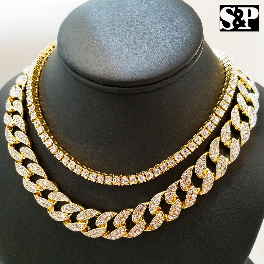 "Hip Hop Quavo Choker 16"" Full Iced Cuban & 1 ROW DIAMOND CHAIN & ""N"" Necklace"