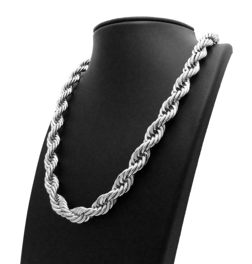 "Men 90's Hip Hop Rapper Style Hollow 10mm 22"", 26"" Rope Chain 2 Necklace Set"