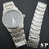 MEN ICED OUT SILVER PLATED URBAN STYLE SILVER NUGGET WATCH & BRACELET COMBO SET
