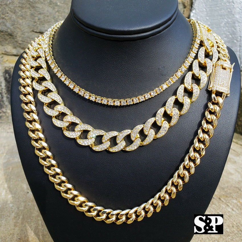 Hip Hop Lab Diamond Iced out 1 Row Tennis & Miami Cuban 3 Chain Necklace set