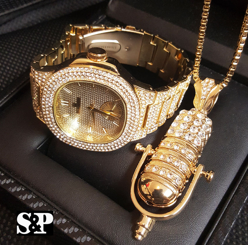 MEN ICED OUT HIP HOP GOLD PT QUAVO WATCH & MIC MICROPHONE NECKLACE COMBO SET