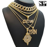 Migos Iced out CULTURE, YRN, SPACESHIP Cuban & 1 Row Tennis Chain Necklace set