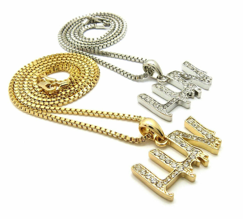 "ICED OUT RAPPER'S MINI LUV PENDANT & 20"", 24"" BOX CHAIN HIP HOP NECKLACE SET"