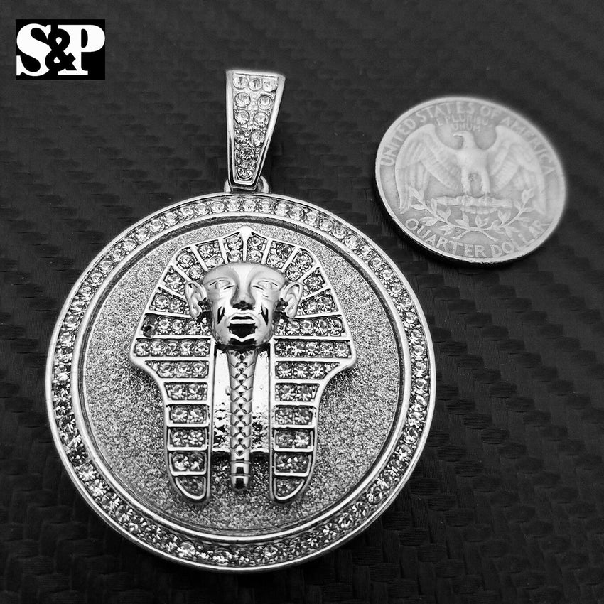 HIP HOP ICED OUT LAB DIAMOND WHITE GOLD PLATED EGYPT PHARAOH  MEDALLION PENDANT