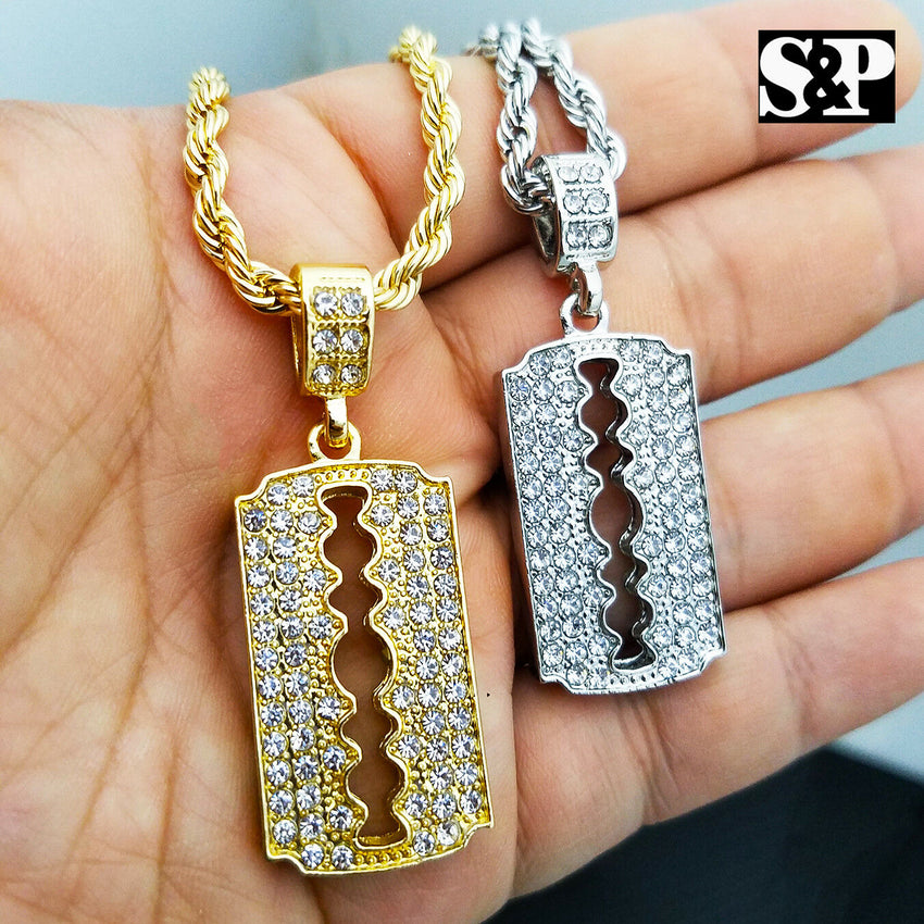 "Fashion Iced Barber Shop Razor Blade Pendant w/ 4mm 24"" Rope Chain Necklace"