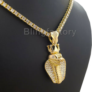 Hip Hop Iced out King Crowned Cobra Pendant & 18