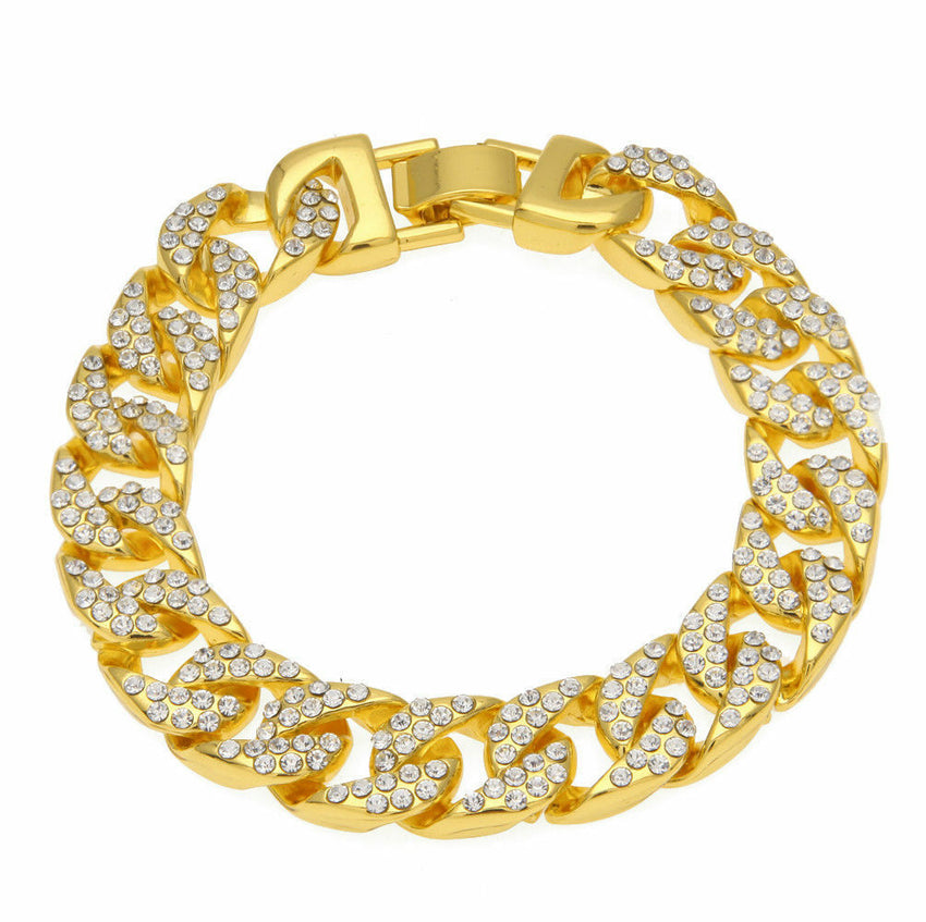 "Luxury Hip Hop Gold Plated 13mm 8.5"" Miami Cuban Link CZ Full Iced Out Bracelet"