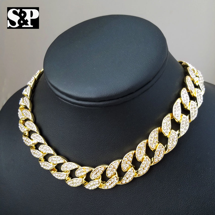 "Hip Hop Quavo Choker 16"" Full Iced Cuban & LUV pendant w/ 18"" Fraco Chain set"