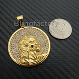 Iced out Hip Hop Stainless steel Gold Tone Holy Jesus Face Medal Charm Pendant