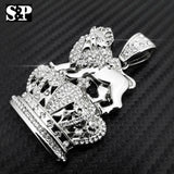 FULL ICED OUT HIP HOP RAPPER'S WHITE GOLD PLATED LION KING CROWN PENDANT