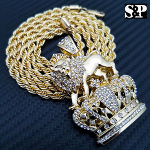 FULL ICED HIP HOP LION KING CROWN PENDANT & 5mm 30