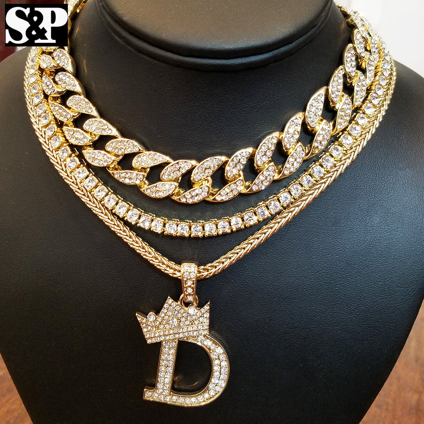 "Hip Hop Quavo Choker 16"" Full Iced Cuban & 1 ROW DIAMOND CHAIN & ""D"" Necklace"