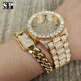 MEN'S HIP HOP ICED OUT LAB DIAMOND WATCH & CUBAN LINK CHAIN BRACELET COMBO SET