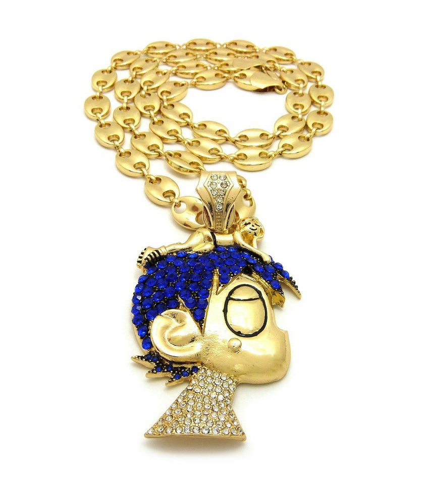 "New ICED OUT PAVE LIL UZI VERT CARTOON w/ 10mm 30"" Marina Chain NECKLACE SET"