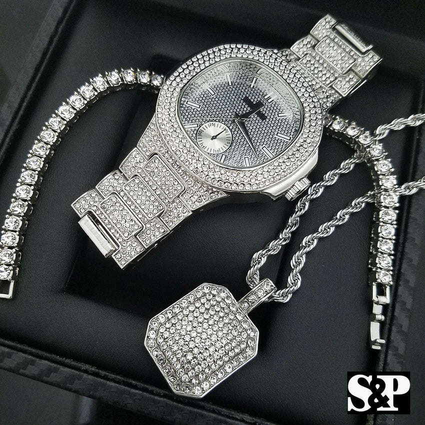 MEN HIP HOP WHITE GOLD PT WATCH & FULL ICED OUT NECKLACE & 1 ROW BRACELET SET