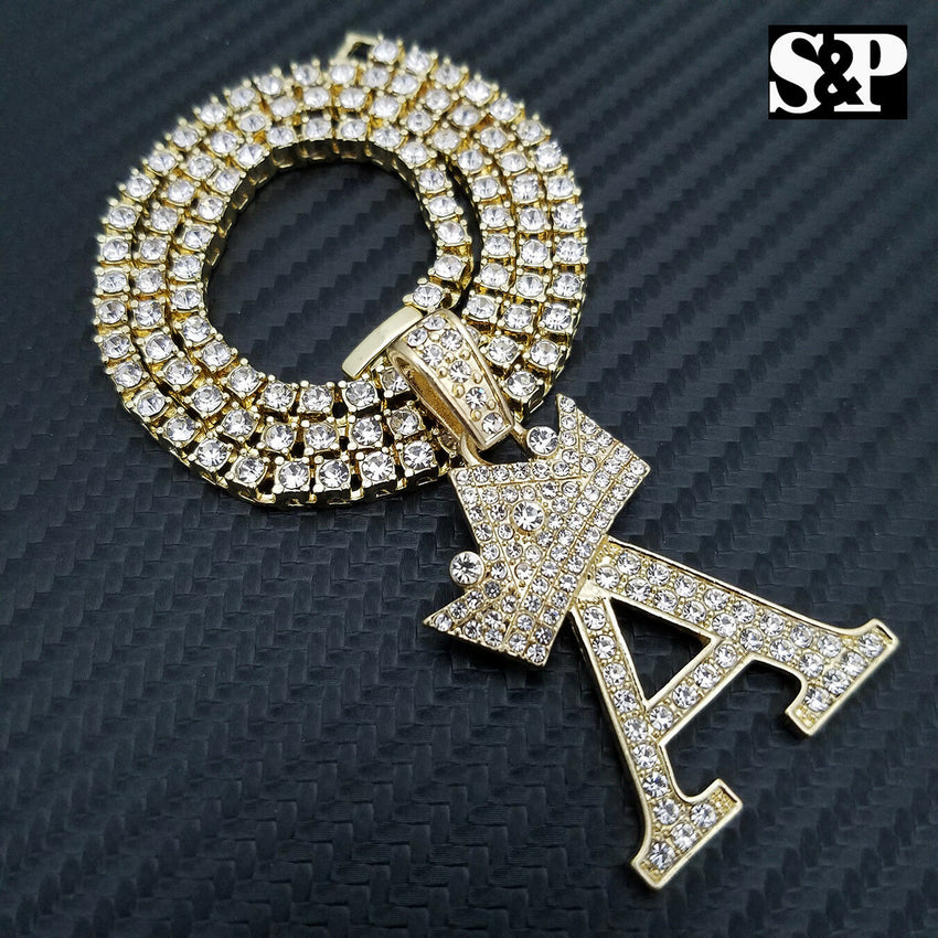 "Hip Hop Initial A Pendant & 18"" Full Iced 1 ROW DIAMOND Tennis Choker Chain Necklace"