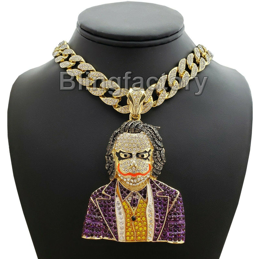 "Hip Hop Large JOKER Pendant & 16"" Full Iced Miami Cuban Choker Chain Necklace"