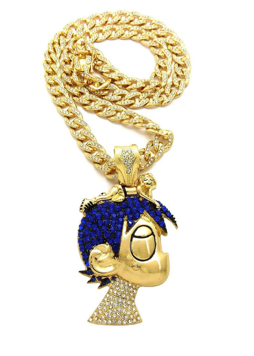 "LIL UZI VERT Cartoon Pendant & Iced Out 18"" ~ 24"" Cuban Choker Chain Necklace"