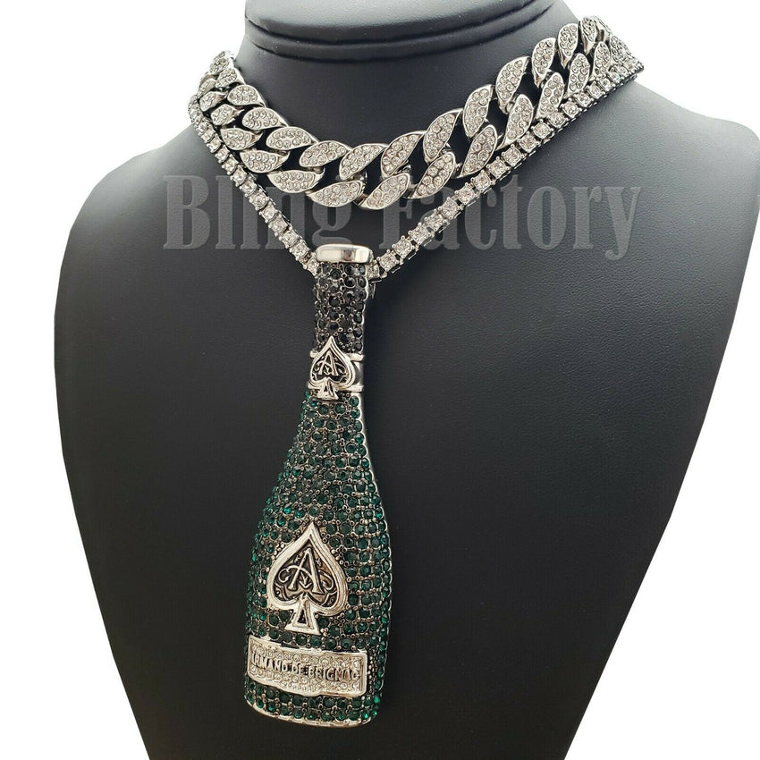 "ACE OF SPADE LIQUOR BOTTLE & 18"" Full Iced Cuban & 1 ROW Tennis Choker Chain Set"