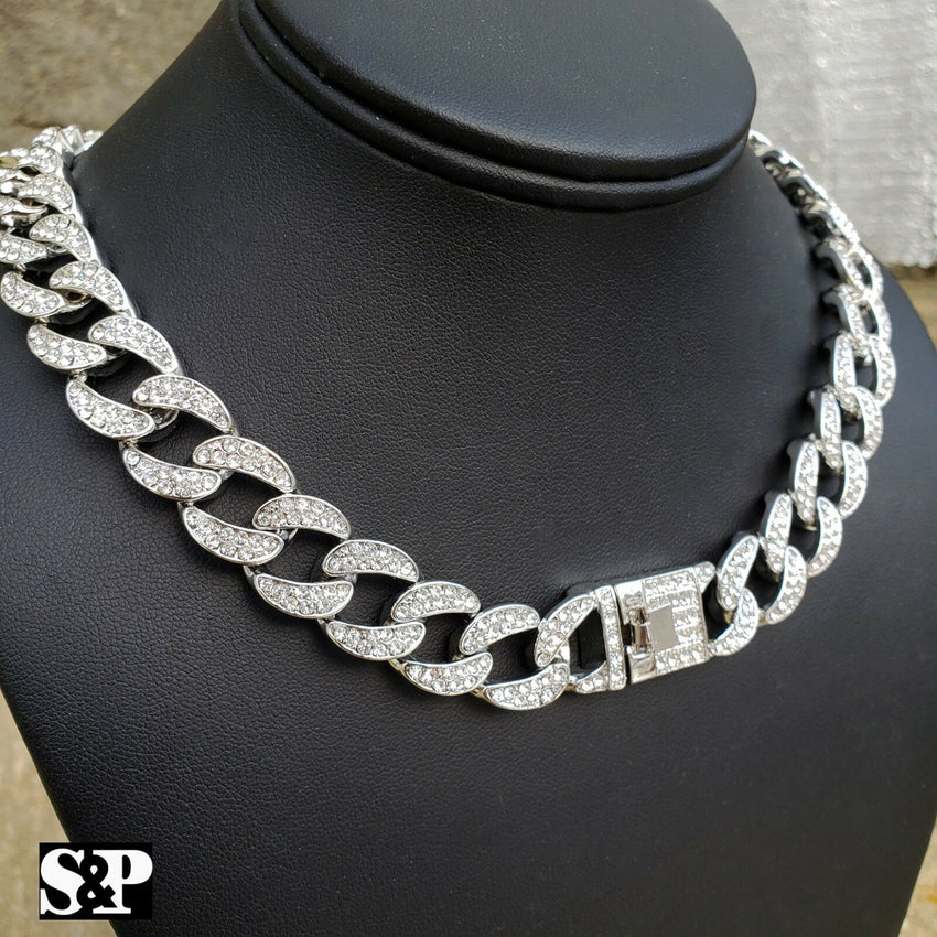 "Hip Hop Full Iced Out White Gold PT 24"", 30"" Miami Cuban Link Chain Necklace"