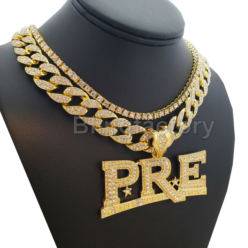 "Young Dolph PRE Pendant & 18"" Full Iced Cuban & 1 ROW DIAMOND Choker Chain Necklace Set"