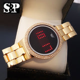 Iced Out Gold Digital Touch Screen Sport Designer Techno Pave Metal Band Watch