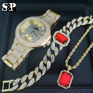 HIP HOP GOLD PT LUXURY WATCH & RED RUBY NECKLACE & CUBAN BRACELET COMBO SET