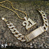 HIP HOP BLING SAVAGE 21 LAB DIAMOND NECKLACE & ICED MIAMI CUBAN BRACELET SET