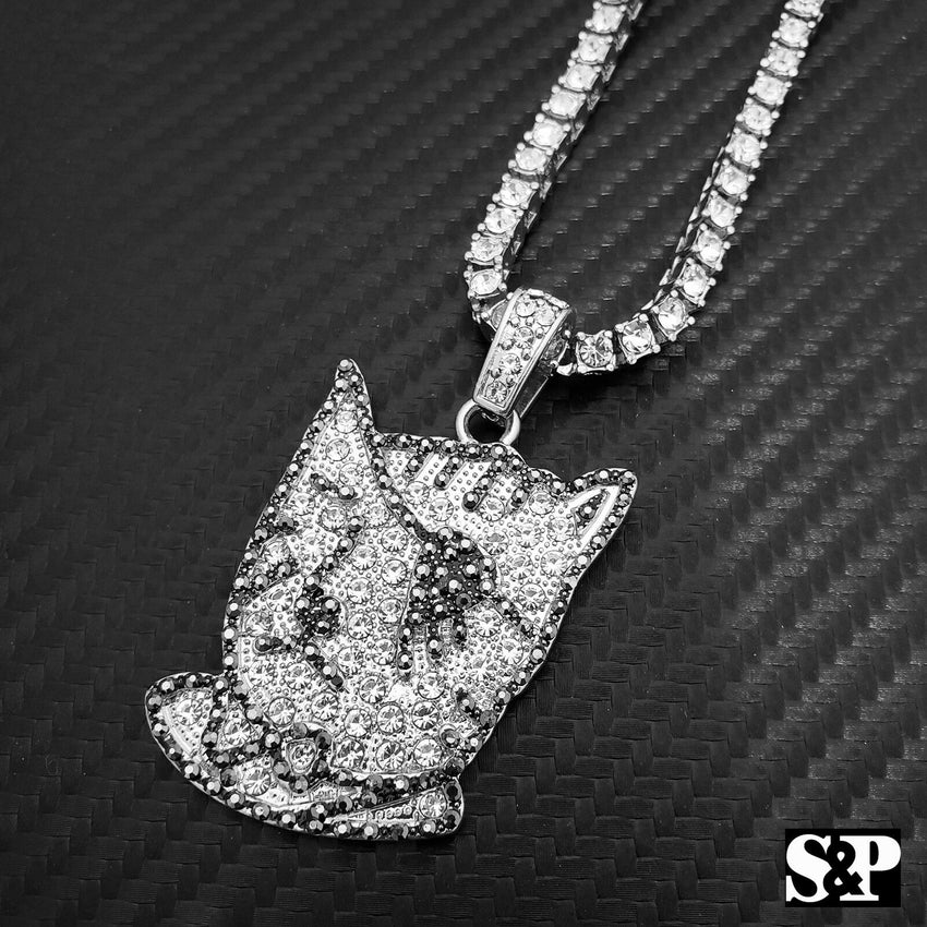 "Hip Hop Uzi Vert Pendant w/ 18"" Full Iced Cuban & 1 ROW DIAMOND Choker Chain Set"