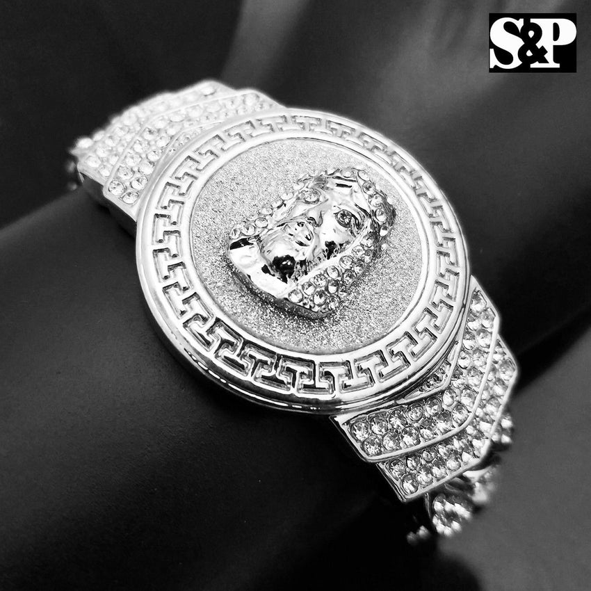 "New Hip Hop White Gold Plated 8.5"" CZ Full Iced Out Jesus Face Cuban Bracelet"