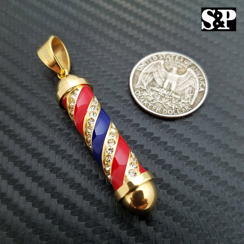 ICED OUT HIP HOP FASHION STAINLESS STEEL BARBER SHOP POLE PENDANT CHARM