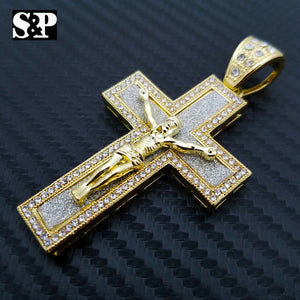 HIP HOP ICED OUT LAB DIAMOND GOLD PLATED BLING 3D JESUS BODY CROSS PENDANT
