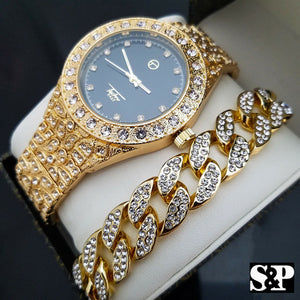 MEN'S HIP HOP QUAVO FULL ICED OUT LAB DIAMOND WATCH & CUBAN BRACELET COMBO SET
