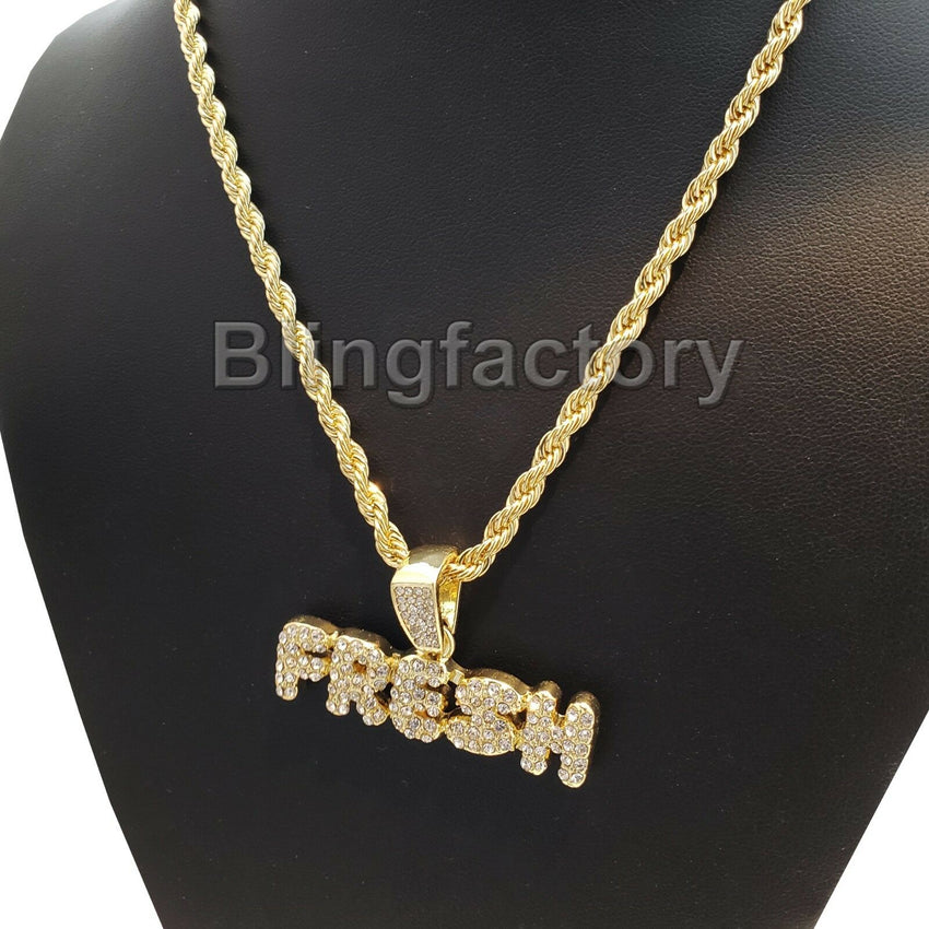 "Hip Hop Iced out Lab Diamond FRESH Pendant & 4mm 24"" Rope Chain Necklace"