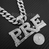 "Young Dolph PRE Pendant & 18"" Full Iced Cuban & 1 ROW DIAMOND Choker Chain Set"