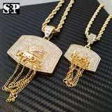 "Men Two Iced out Basket ball Hoop Pendant & 5mm 30"", 4mm 24"" Rope Chain Necklace"