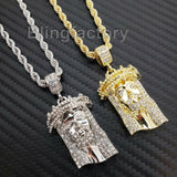 "Hip Hop Iced out Lab Diamond Jesus Head Pendant & 4mm 24"" Rope Chain Necklace"