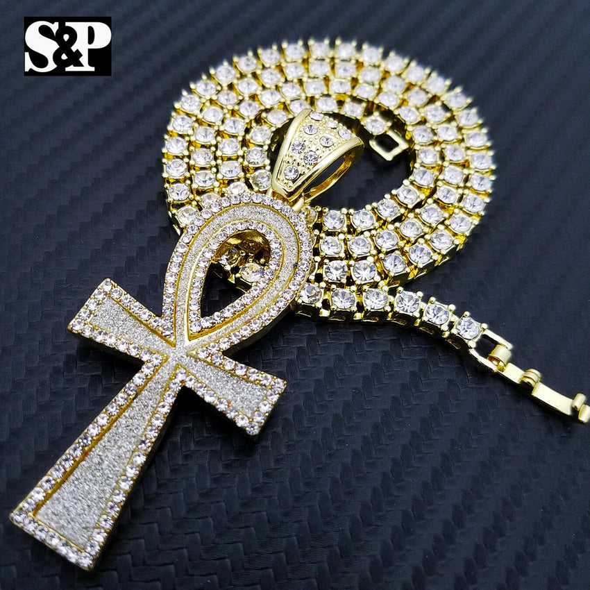 "Hip Hop Ankh Cross Pendant & 16"" Full Iced 1 ROW DIAMOND Tennis Choker Chain Necklace"