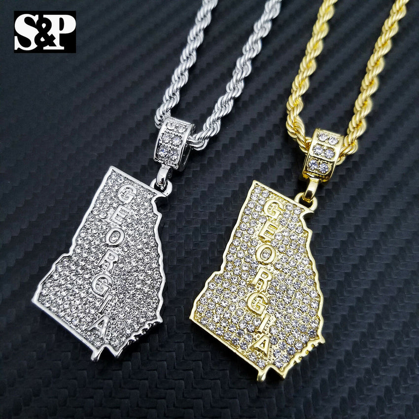 "Iced out Fashion GEORGIA STATE Lab Diamond Pendant w/ 24"" Rope Chain Necklace"