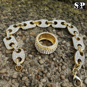 Hip Hop Iced Out Lab Diamond Gucci Chain Bracelet & Full Iced Ring Combo Set